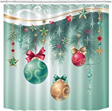 LB Green Pine Tree Branch Star Ball Decor Pattern Shower Curtain Set, Christmas Tree Print Fabric Curtain for Bathroom, 70 x 70 Inch Shower Window Curtain Waterproof