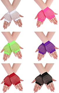 Boao 12 Pieces 80s Neon Gloves Party Gloves Fishnet Fingerless Gloves for 80s Costume Accessories Wearing