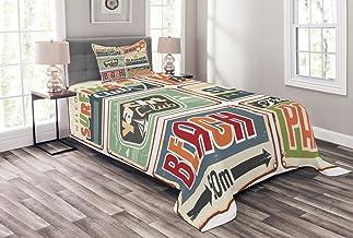 ABAKUHAUS Retro Cubrecama, Vacaciones de Verano Campamento Vintage Playa Carteles Descoloridos Estilo Retro, Decoración para el Cuarto, 170 x 220 cm, Multicolor