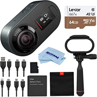 Rylo 5.8K 360 Degree Sports Action Video Camera Black, (iPhone + Android) Bundle Kit, 16GB SD Card, Everyday Case, Lexar 64GB Class 10 UHS-I U3 microSD Card, Cleaning Cloth
