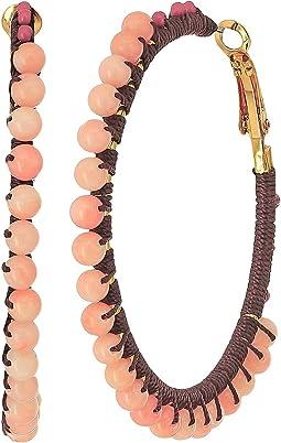 Rebecca Minkoff - Thread Wrapped Beaded Hoop Earrings