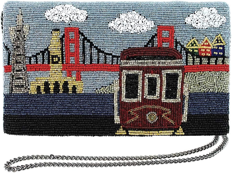MARY FRANCES City By The Bay Beaded San Francisco Crossbody Clutch Handbag