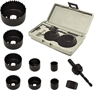 Best ryker hardware 10-Piece Hole Saw Kit for Wood - Durable Carbon Steel Power Drill Hole Cutter With High Precision Cutting Teeth - Woodworking HCS Hole Saw Kit For Wood, PVC, Plastic, Drywall Review