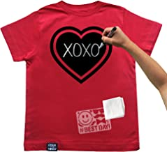Chalk of the Town Chalkboard T-Shirt Kit for Kids - Short Sleeve Red Heart with 1 Chalk Marker and Stencil (Youth Medium)