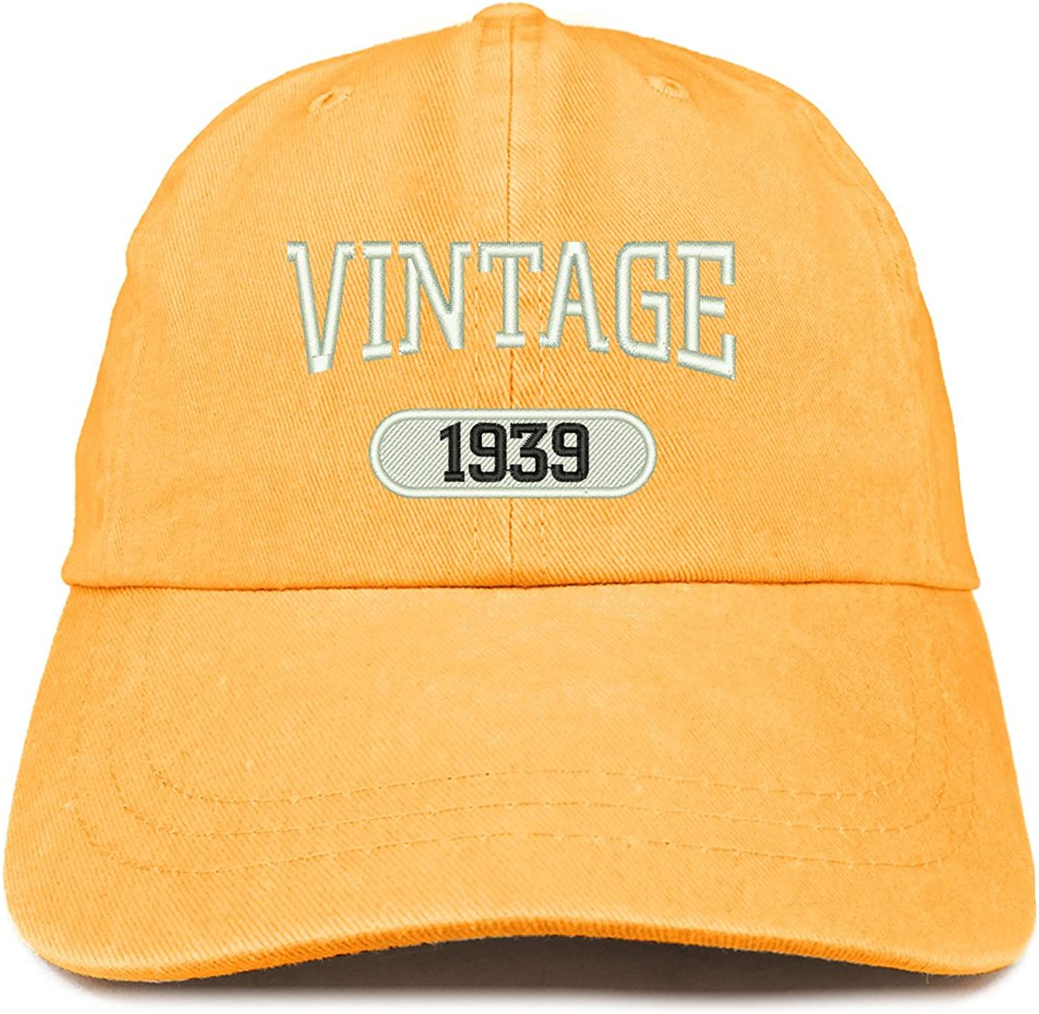 Trendy Apparel Shop Vintage 1939 Embroidered 80th Birthday Soft Crown Washed Cotton Cap