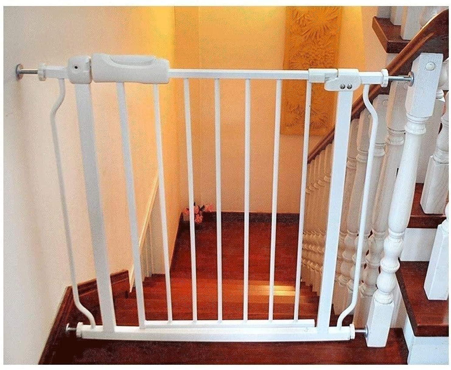 曲がったギネスブレースベビーゲート フェンス ドア付き 階段や廊下の壁には、デュアルロックベビーゲート簡単に調節可能なエキストラ安全な階段子供の安全ドアパンチフリーインストールマウントペットフェンス圧力締結(Hの76センチメートル) (Color : White, ...