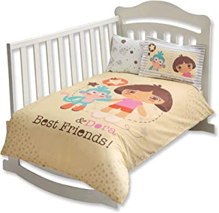 100% Organic Cotton Soft and Healthy Baby Crib Bed Duvet Cover Set 4 Pieces, Dora Best Friends Baby Bedding Set