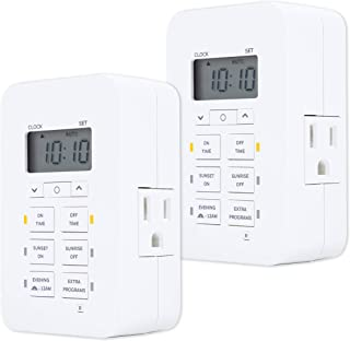 UltraProDaysmart Indoor 7-Day Plug-in Digital Timer 2 Pack, Custom Settings, Presets/Countdown, 2 Grounded Outlets, Batter...