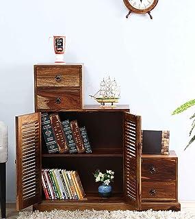 THD The Home Dekor Gamini Solid Wood Step Multipurpose Storage Cabinet 4 Drawer and 2 Shutter Design Doors Living Room Fur...