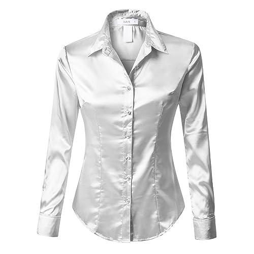 838a07fa685ab7 RK RUBY KARAT Womens Satin Silk Work Button Down Blouse Shirt with Cuffs