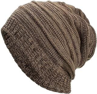 PEIZH Women Men Solid Color Striped Headgear Warm Baggy Weave Crochet Winter Wool Knit Ski Beanie Skull Caps Hat