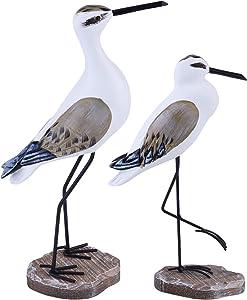 EXCEART 2pcs Seagull Statues Garden Bird Sculpture Wooden Seabirds Figurine Nautical Sculpture Desktop Coastal Decorartion Home Table Centerpiece