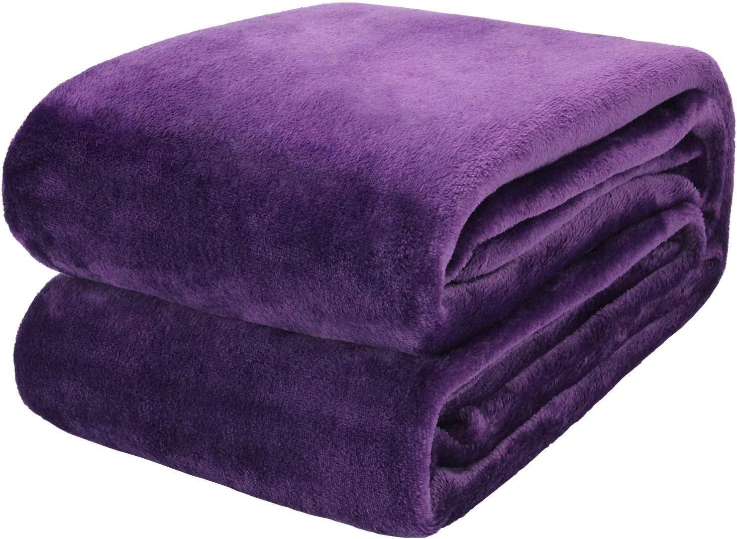 Flannel Fleece Blanket Throw Blanket,Fluff Purple Home Deep Tulsa Mall Popular standard