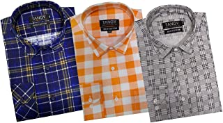 TANGY Pack of Full Sleeves Mens Casual Checks Shirts