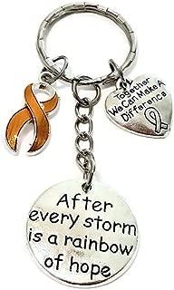 Orange Ribbon Keychain, Leukemia Awareness Keychain, Kidney Cancer Keychain, MS Awareness, ADHD, Cancer Awareness Gift, Cancer Awareness Key Ring, Orange Ribbon Key Ring