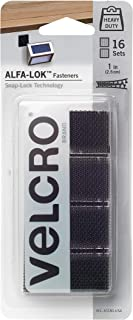 VELCRO Brand ALFA-LOK Fasteners | Heavy Duty Snap-Lock Technology | Self-Engaging and Multidirectional Use | Black, 1 inch Squares, 16 Sets