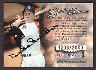 1997 Donruss Signature Series Baseball Significant Signatures Duke Snider Auto 1208/2000 Brooklyn Dodgers