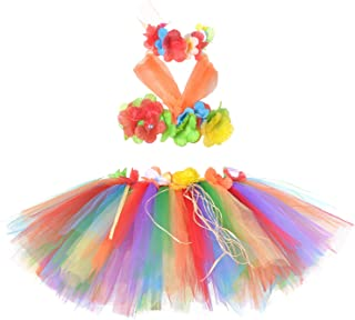 Tutu Dreams 3pcs Hawaiian Hula Luau Tutu Set (2 Sizes: Girls,Baby) Birthday Beach Party