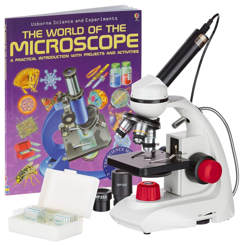 グリーンバック下位忍耐AmScope 40X-1000Xデュアルレッドアクセント、カメラ、スライド+ブックでソリッドメタルポータブル複合顕微鏡のLED