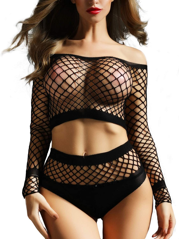 FasiCat Women's Mesh Lingerie Fishnet Babydoll Mini Dress Free Size Bodysuit See Through Shirts Long Sleeve