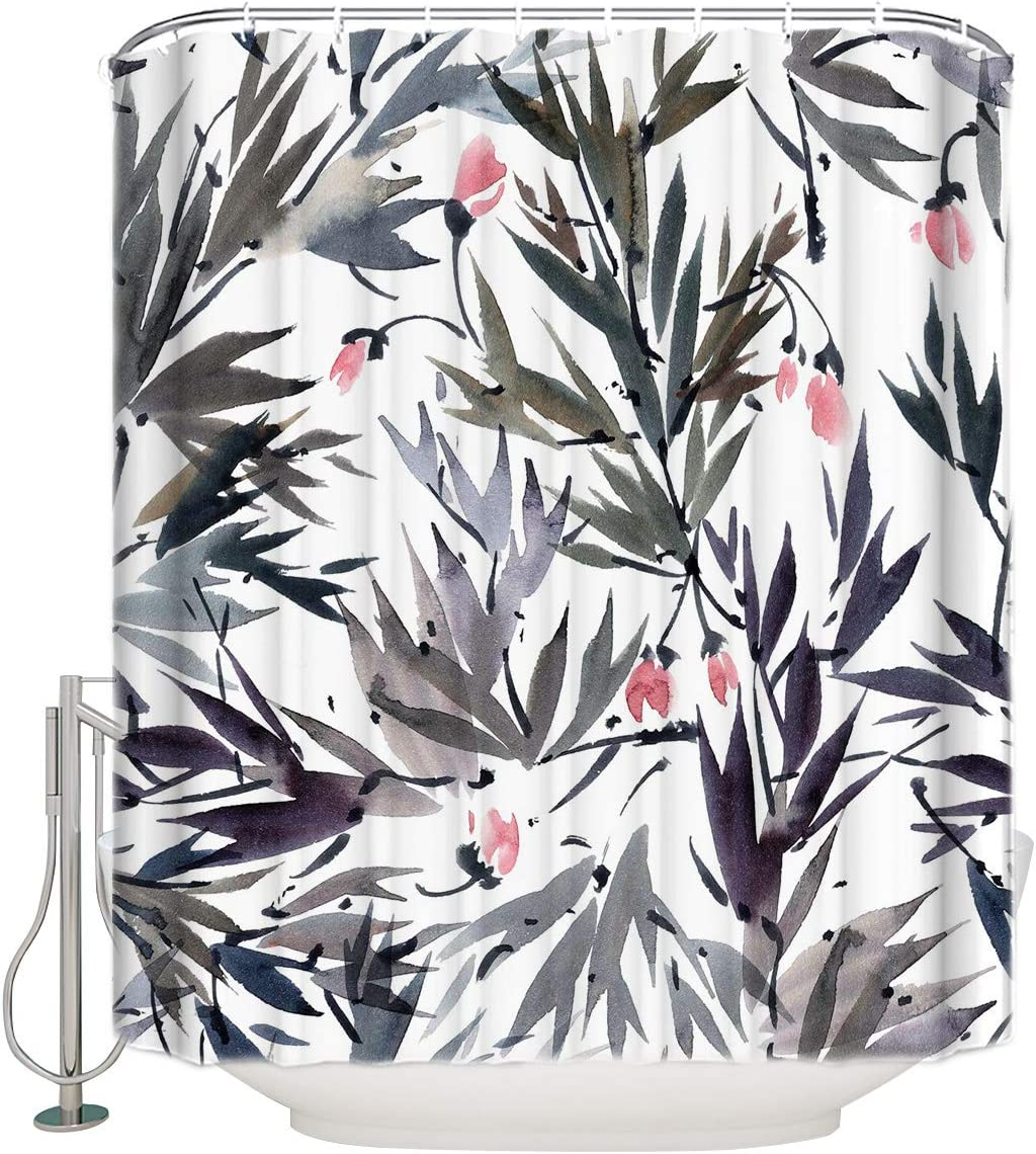72x84 Inches Denver Mall Shower Curtain Bamboo Large-scale sale and Flower Ink Pink Painting