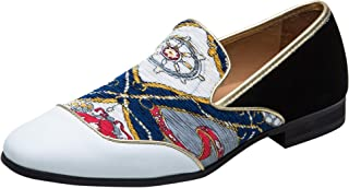 Hommes Chaussures Retro Broderie Mocassins en Cuir Travail Chaussures de Mariage Slip on Loafers Blanc