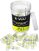 E-VOLT Solder Seal Wire Connectors – 50 PC Yellow Heat Shrink Butt Connectors for 12-10 Gauge Wires – Industrial Grade, Low Temperature Melt Soldering Terminals for Marine and Automotive