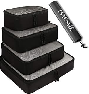 BAGAIL 4 Set Packing Cubes,Travel Luggage Packing Organizers with Laundry Bag (Black net)