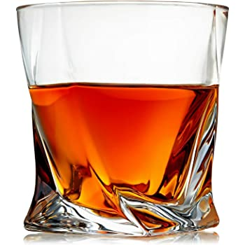 Venero Crystal Whiskey Glasses, Set of 4 Rocks Glasses in Gift Box - Lowball Bar Glasses for Drinking for Bourbon, Scotch Whisky, Cocktails, Cognac - Old Fashioned Cocktail Tumblers