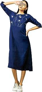سترة قصيرة نسائية من القطن سادة مطرزة من ladyline فستان كورتا هندي