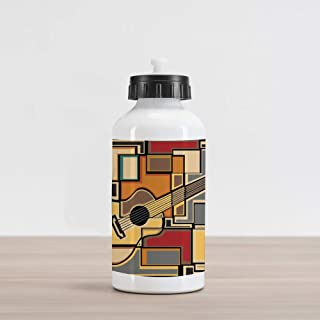 Ambesonne Music Aluminum Water Bottle, Funky Fractal Geometric Square Shaped Background with Acoustic Guitar Art, Aluminum Insulated Spill-Proof Travel Sports Water Bottle, Multicolor