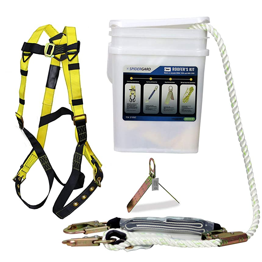 Spidergard SP-RFKIT Construction Harness with Leg Tongue Buckle Straps and 4 Pieces Roof Kit Combo (Set of 3)
