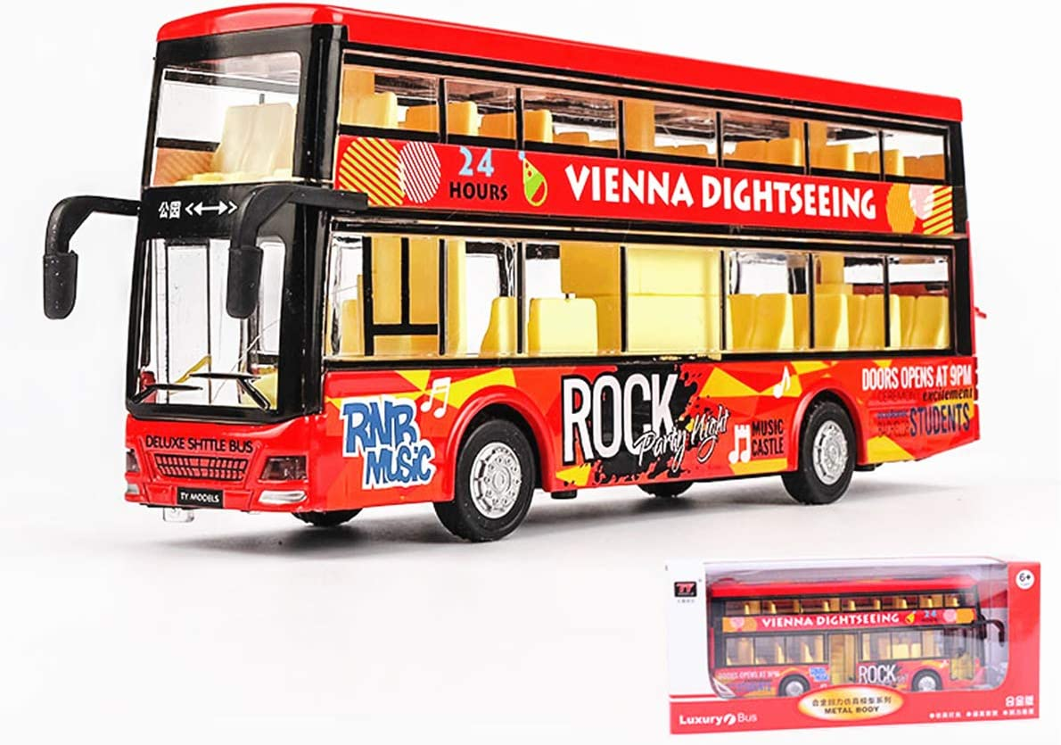 Simulation Double-Deck Alloy Milwaukee Mall Bus Max 55% OFF Model Toy Sound Light