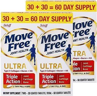 免税包邮Schiff MoveFree Ultra骨胶原维骨力 白瓶活动套装 60粒*2 美国原装正品