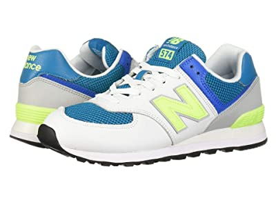New Balance Classics ML574 Pebbled Sport (Deep Ozone Blue/Bleached Lime Glo) Men