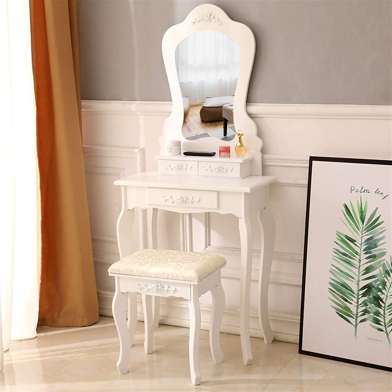 Vanity Table Free shipping Set with Irregular Ta Dressing Popular product Single Mirror