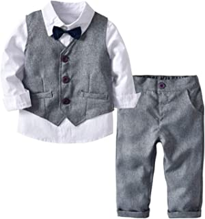 Baby Boy Formal Outfit Tuxedo Plaid Gentleman Suit Onesie Jumpsuit