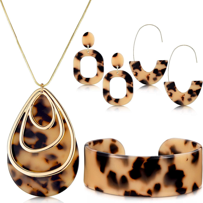 Hicarer Acrylic Leopard Jewelry Set for Women Girls Statement Boho Resin Earrings Necklace Bracelet