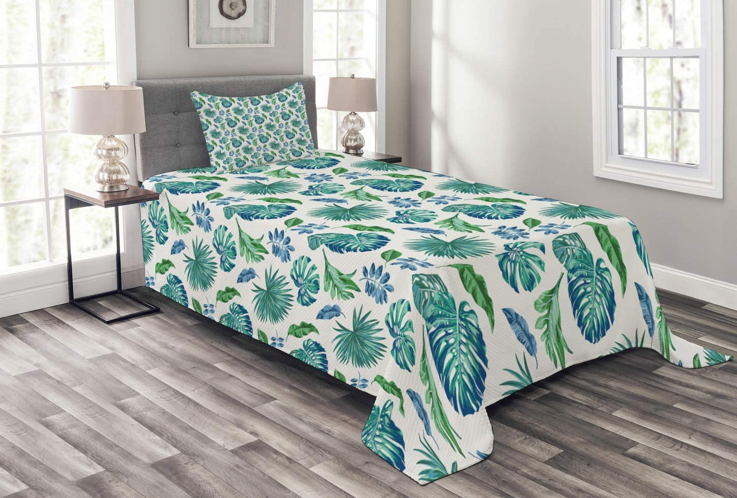 Ambesonne Green Courier shipping free shipping Leaf Bedspread Monstera Leave Palm Max 78% OFF Tree Coconut