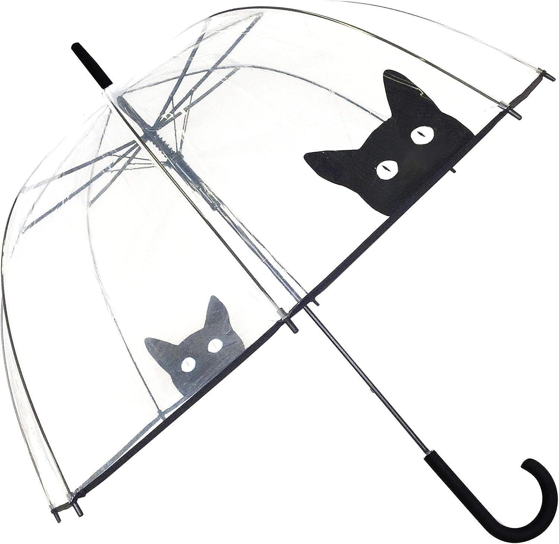 SMATI Paraguas Largo Transparente Forma de Campana y su apuerta automático