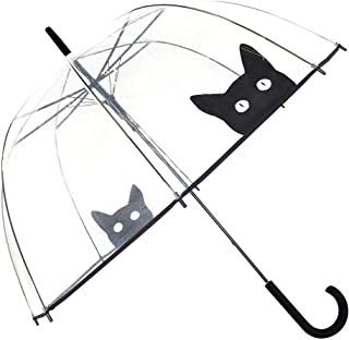 SMATI Parapluie Femme Cloche/Dome Transparent- Ouverture Automatique (Chat)