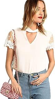 Women's Cutout Choker V Neck Lace Short Sleeve Casual Blouse Top