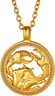 FindChic Horoscope Necklaces for Women Men Zodiac Sign Disc Pendant Coin Necklaces Stainless Steel/18K Gold Plated Two Ton...