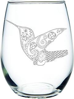 C M Hummingbird stemless wine glass, 15 oz.