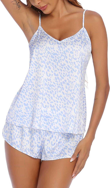 Ekouaer Sleepwear Womens Sexy Lingerie Satin Pajamas Cami Shorts Set Print Holiday Nightwear