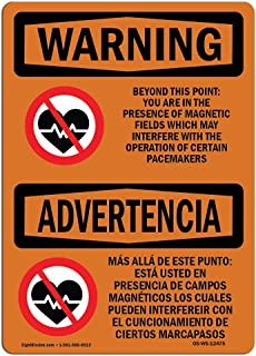 OSHA Waring Sign - Beyond This Point Magnetic Fields Bilingual   Vinyl Label Decal   Protect Your Business, Work Site, Warehouse & Shop Area  Made in The USA