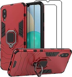 EasyLifeGo for Samsung Galaxy A02 / Galaxy M02 Kickstand Case with Tempered Glass Screen Protector [2 pieces], Hybrid Heav...