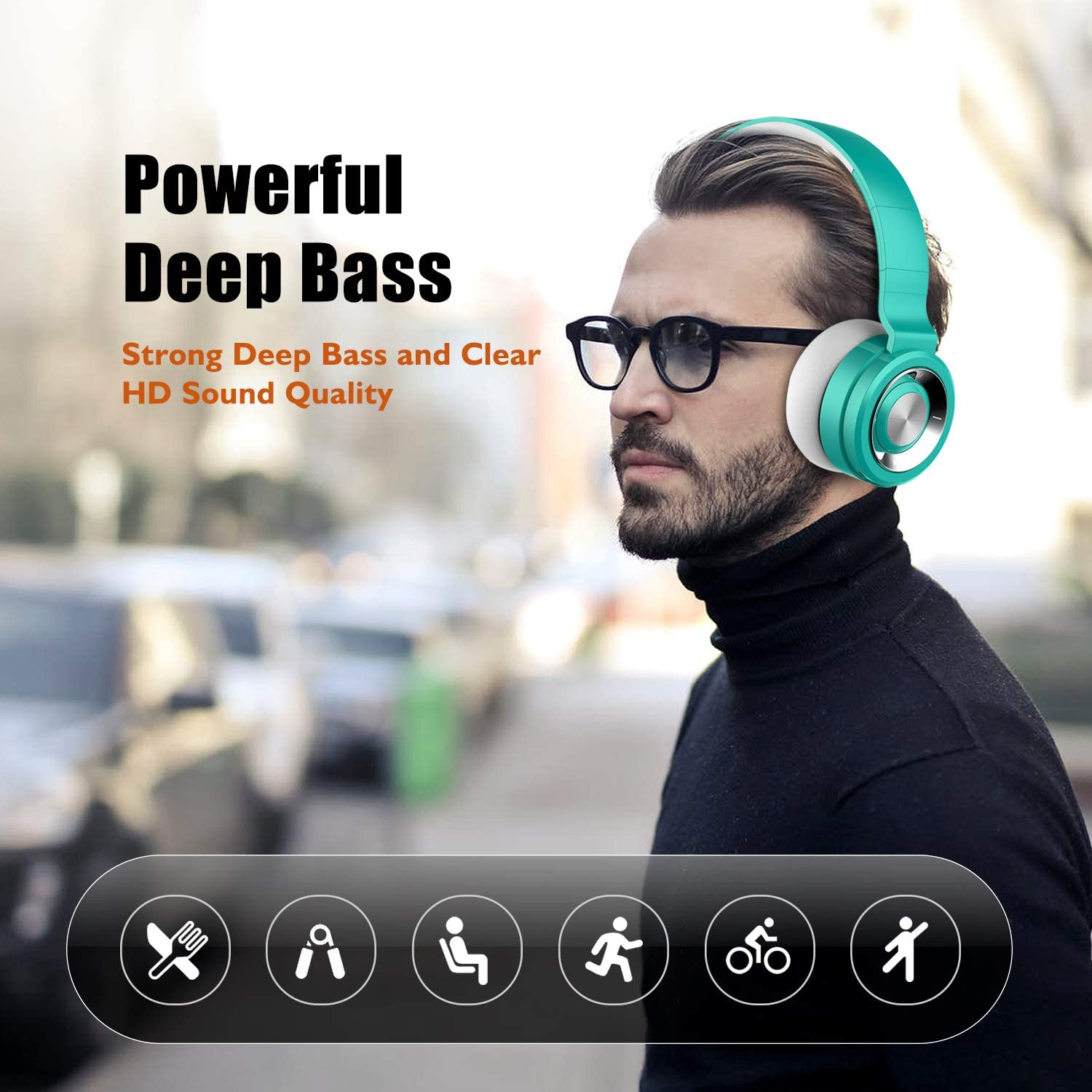 Built-in Mic & Wired Mode for TV//PC//Phone Soft Memory Protein Earmuffs Black Bluetooth Headphones Over Ear,Wireless Headphones with Mic,Funwaretech Foldable Hi-Fi Stereo Bass Headphones
