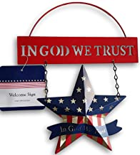 Patriotic Metal 'God Bless America' Welcome Signs w Red Silver Blue Star or Heart, Select: Blue or Red Plaque (Red Plaque)