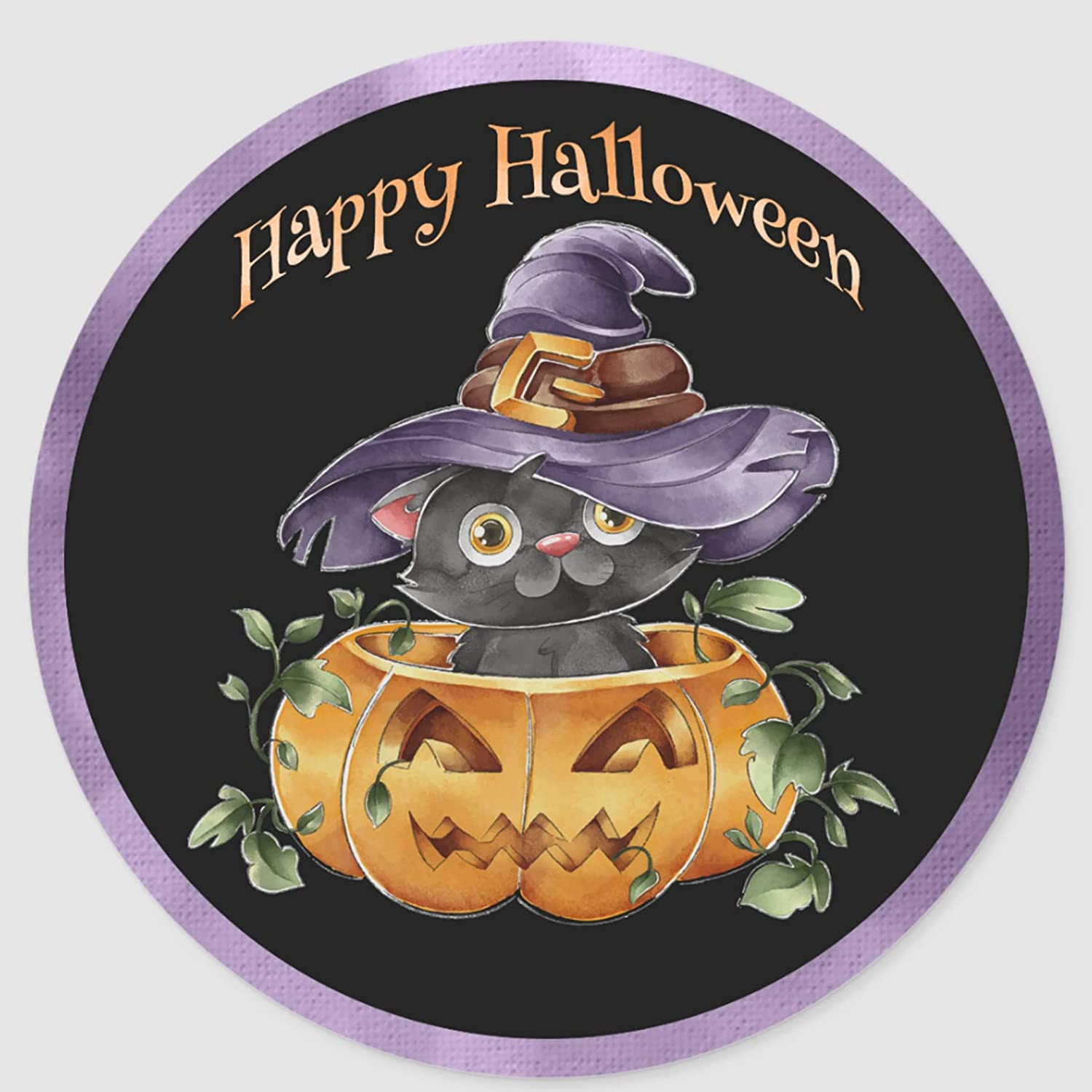 Halloween - Watercolor Cute Kitting in Classic We OFFer at cheap prices Round Vin sold out Pumpkin
